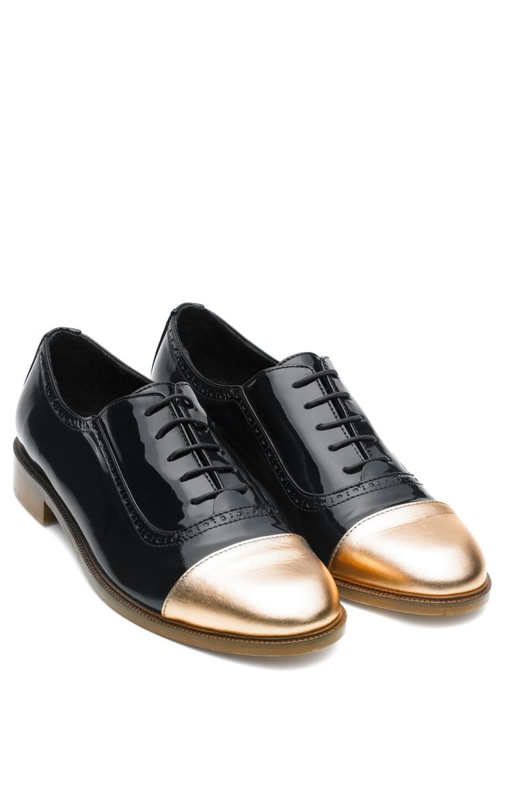 Meandher Lulu Dark Navy Patent Shoe With Gold Toe by Meandher for Preorder on Moda Operandi