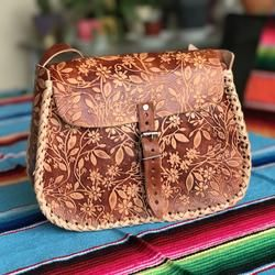 Carved leather shoulder bag | Floral