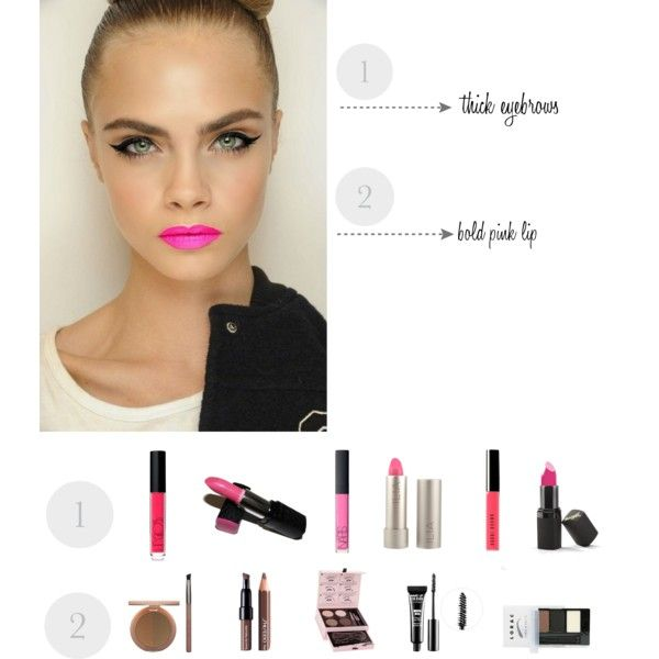 Makeup Trend by vivcarmona on Polyvore - Bold eyebrows and eyeliner and bright lipstick!