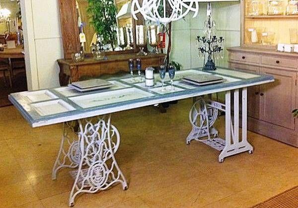 25 mesas de comedor, Islas Ktchen y escritorios de oficina Reciclaje de máquinas de coser de la vendimia