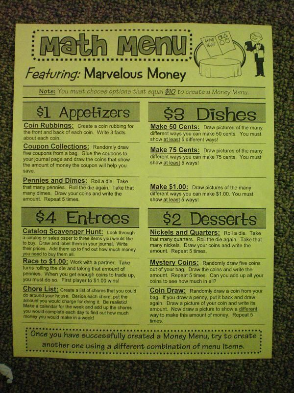 math menu - lots of different math options - great for stations or for students who finish early.  This is 2nd grade, but is a good idea.