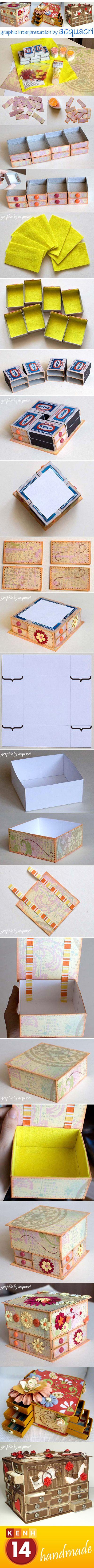 Crea un porta oggetti a cassetti con le scatoline di fiammiferi! | #DIY #faidate            #riciclo #handmade #scatole #box #ideecreative #riciclocreativo #ministorage