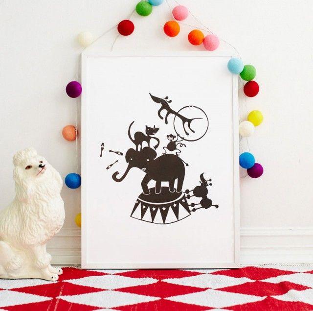 Circus poster by Ejvor! #nordicdesigncollective #cirkus #circus #ejvor #poster #elephant #dog #ring #cat #animal #juggle #clown #poodle #porcelaindog #illustration #nordicdesign #kidsroom #childrensroom #print #swedishdesign