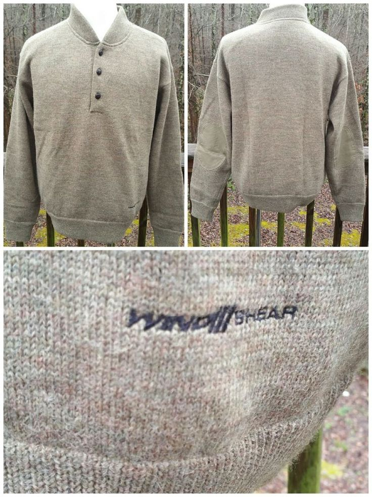 Mens CABELA'S 100% WOOL Windstopper Wind Shear Lined Pullover Heavy Sweater M #Cabelas #Pullover