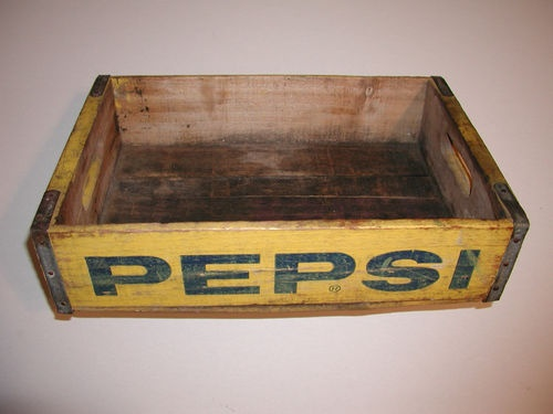 Vintage yellow blue pepsi cola wooden soda bottle for Wooden soda crate ideas
