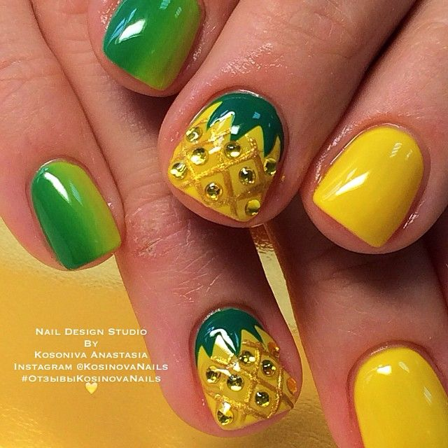 Pineapple Nails by Instagrammer @kosinovanails
