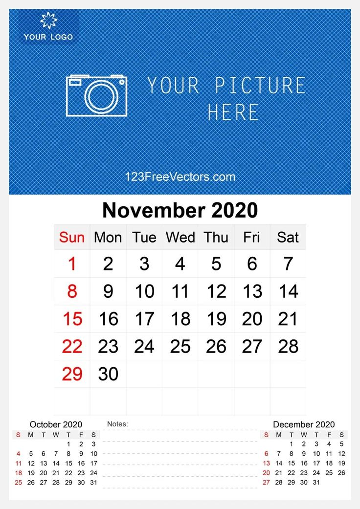 2020 November Wall Calendar Template Free Vector free