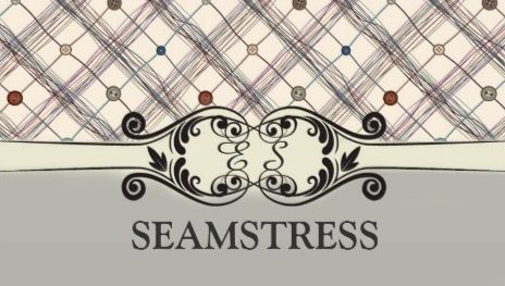 Seamstress sewing studio decorated buttons and thread business cards