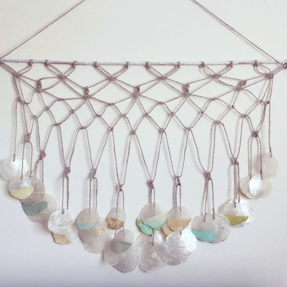 Macrame Wall Hanging With Painted Capiz Shells By ADesignJourney 5000 Moon Valley Crochet