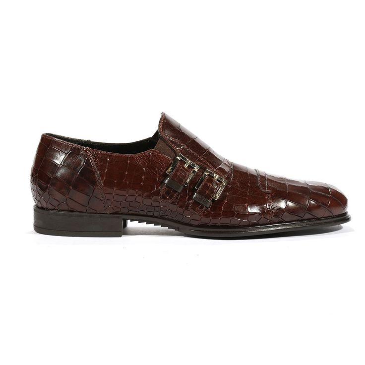 Cesare Paciotti Mens Buckhold Loafers Croc Print Cocco Lux Caffe SL Shoes (CPM5432)