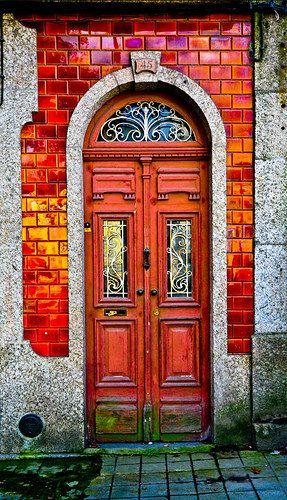 Beautiful colored doorway - Guimarães, Ave, Portugal