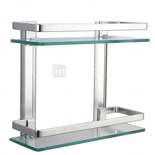 Estantería de Baño aluminio Montura en Pared 34.5cm(13.6'')*29cm(11.4'')*11.9cm(4.7'') Aluminio / Vidrio Templado Contemporáneo - EUR €55.85