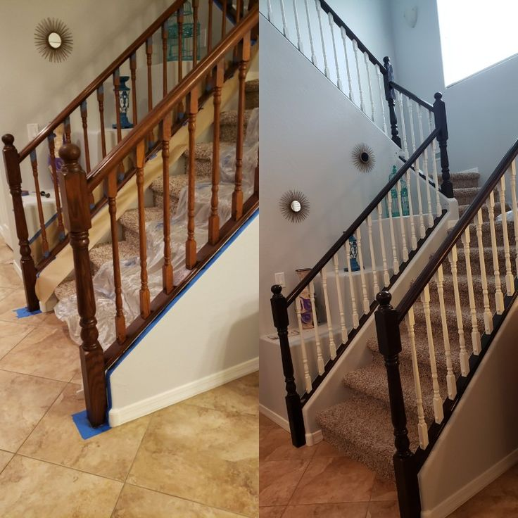 Best Stained Railing And White Paint Spindles I Used General 400 x 300
