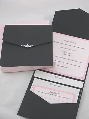 Pink and black pocket fold wedding stationery with diamante details. Boxed and wrapped in tissue paper