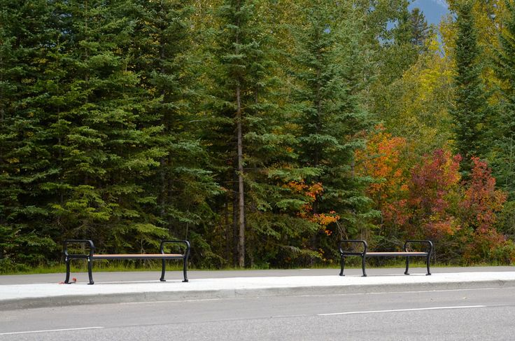 Mountain Classic Straight #Benches in Canmore, Alberta #sitefurniture #streetfuniture #madeincanada