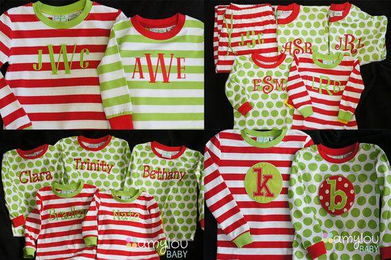 Monogrammed Christmas Pajamas - PJs - Jammies by amyloubaby
