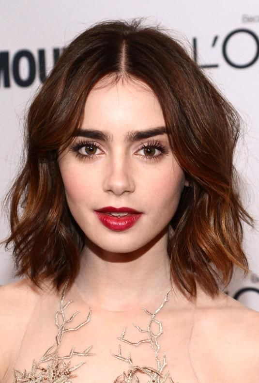 Screw going back to blonde - I want this hair colour! Lily Collins <3