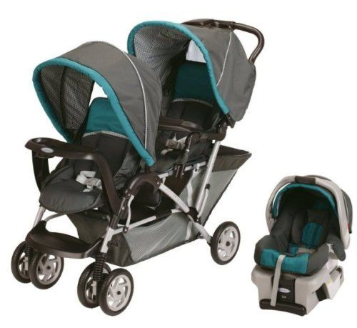 Graco DuoGlider Folding Double Baby Stroller w Car Seat Travel Set Dragonfly