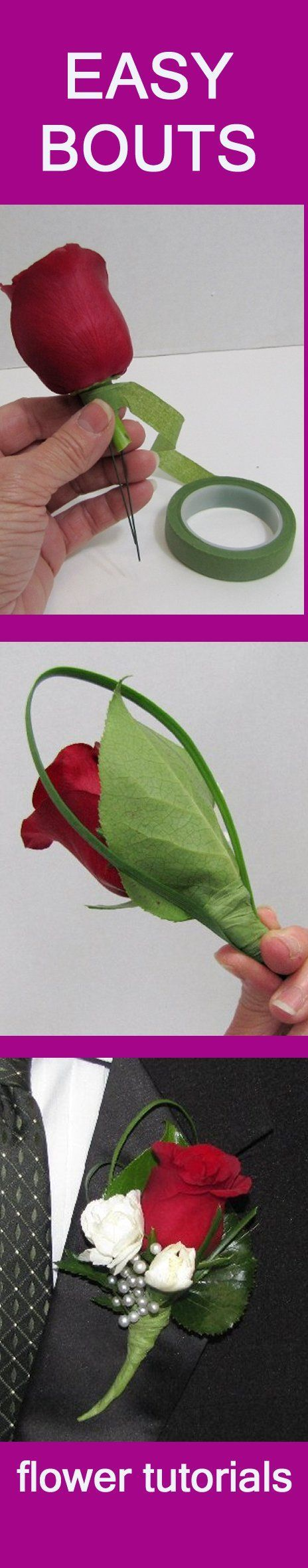 Boutonniere Tutorials - Learn How to Make Boutonnieres  Learn how to make bridal bouquets, wedding corsages, groom boutonnieres, reception table centerpieces and church decorations.  Buy wholesale flowers and discount florist supplies.