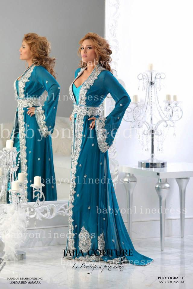 2 Pieces Blue Arabic Kaftan Evening Dresses With Long Sleeves And Applique Lace Satin Abaya Dubai Chiffon Evening Gowns BO3370 $199.99