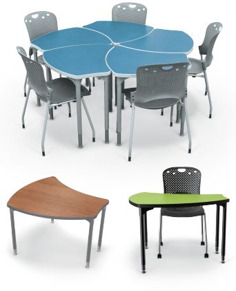 Shapes Desks provide flexibility in #ClassroomFurniture layouts and group configurations. These versatile tables and ergonomic shapes move quickly from a traditional configuration to three, four or five table groups.