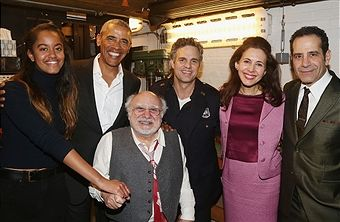 Malia Obama, The 44th President of The United States Barack Obama, Danny DeVito, Mark Ruffalo, Jessica Hecht and Tony Shalhoub pose backstage at The Roundabout Theatre Company's production of 'Arthur Miller's The Price' on Broadway at The American Airlines Theatre on February 24, 2017 in New York City.