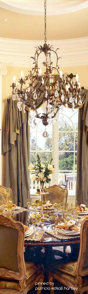 Mediterranean Tuscan Old World Decor Drapes CurtainsValancesLuxury Dining RoomDining