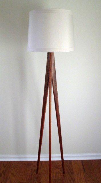 Family Room.  Floor Lamp  Tripod  Mahogany Wood by WaldenWoodDesigns on Etsy