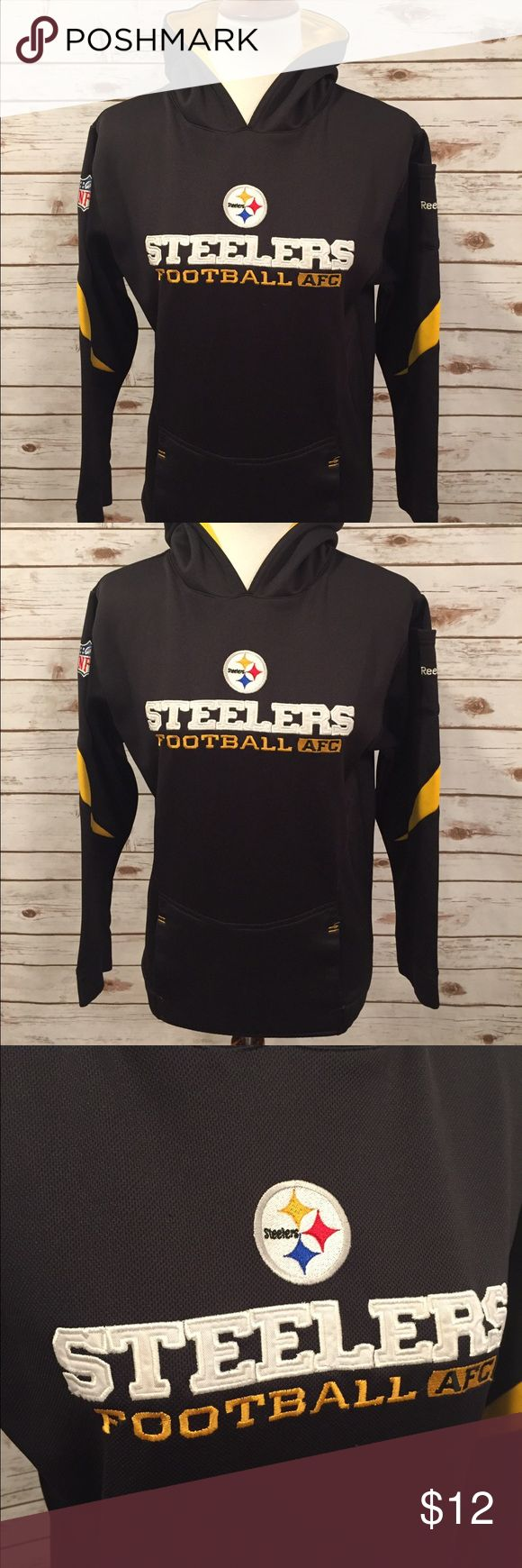 Reebok Steelers Hoodie Very well made hoodie!  This is not your regular Sweatshirt material. In good condition besides some pilling on the back bottom where you would lean up against something. It's not too bad though but is present. Reebok Steelers Shirts & Tops Sweatshirts & Hoodies