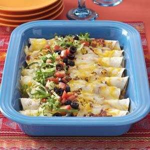 Three Cheese Enchiladas Recipe -This easy-to-prepare main dish meal has proven popular with dinner guests of all ages—and especially teenagers. You'll find the Southwest-style enchiladas are not too spicy, just pleasantly flavorful. —Gretchen Mellberg, Hawarden, Iowa