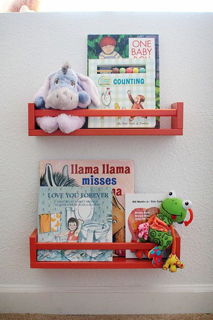 Spice racks can hold more than spices. These ones from Ikea were painted orange and put to work in a child's bedroom.