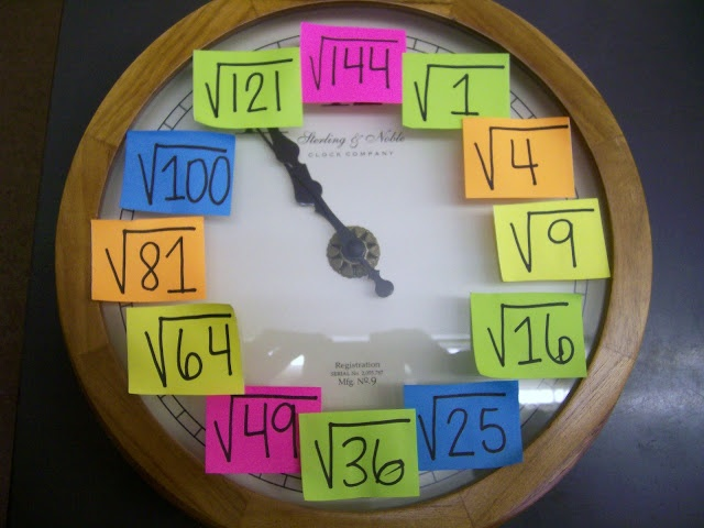 Day when we get a clock for our room we should do this to our clock.   Genius for learning square roots!!