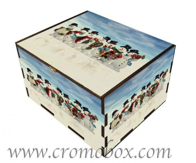 Confezione in legno per regali natalizi  soggetto pupazzi di neve  #cromobox wooden box wood packaging boxes