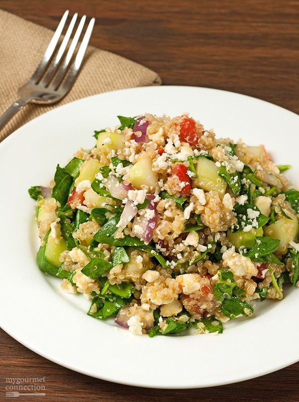 Greek Spinach and Quinoa Salad: A flavorful, satisfying salad that combines spinach, tomatoes, cucumber, red onion, quinoa and feta cheese with a Greek-style dressing flavored with lemon juice and oregano.