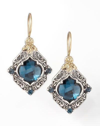 "London blue topaz center and round-cut, prong-set pave details. 18-karat yellow gold French wire backs and scrollwork. Scrollwork-carved sterling silver. Approximately 1 1/8""L. Handcrafted in Athens,"