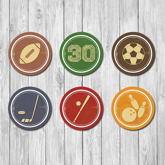 30th Birthday Sports Cupcake Toppers  30th by TheRestUnwritten
