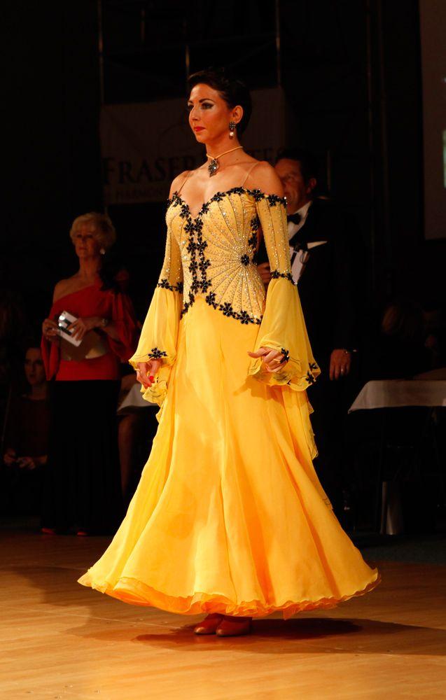 T027 Saffron Black Standard Dance Costume for sale - Dreamgown