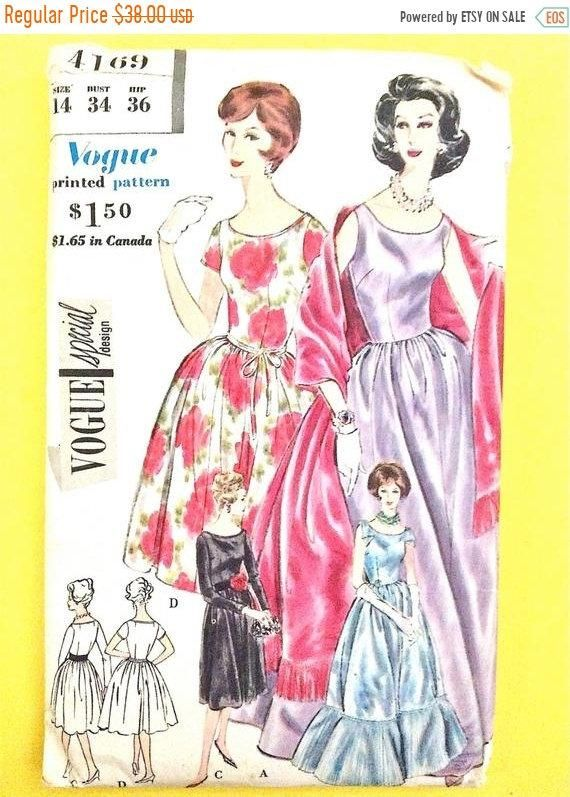 1950s Uncut Vogue Special Design 4169 Onepiece Dress Stole