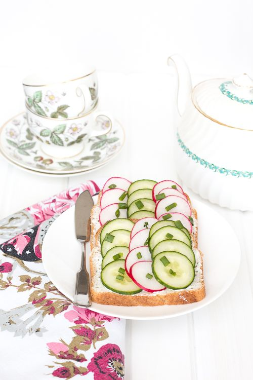 Radish and Cucumber Tea Sandwiches made with @Debbie Dempster's® Bakery THINS