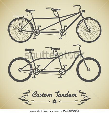 Collection of tandem bicycles in silhouette style. Detailed classic tandem bicycles. Two tandem bicycles with different frames. Tandem bicycles stock vector image.