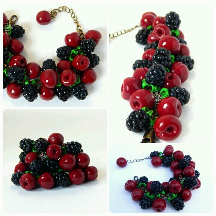 Bracelet with Blackberries and cherries. Handmade. Author Polynastudio