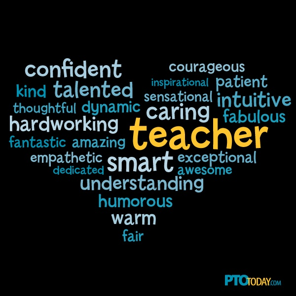 Teacher Appreciation Word Cloud from PTO Today.