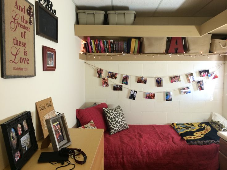 Beautiful dorm room set-up by a Union University student. She did a great job incorporating the school colors!