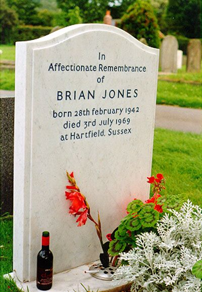 Brian Jones ......... of the Rolling Stones.  buried at Cheltenham Cemetery,Gloucestershire,Eng.  cause of death : Drowning , he was found at the bottom of his pool.He was 27.  His death has had much controversy ,as to what really happened,,if it was suicide, accidental , or homicide.