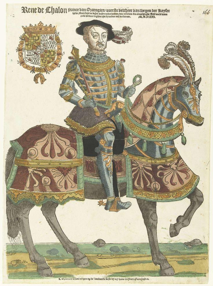 Hans Liefrinck (I) | Portret van René de Châlon te paard, Hans Liefrinck (I), 1543 | René de Chalon (1519-1544), prins van Oranje, in wapenrusting te paard, staf in de hand. Gekleed in blauwgroen harnas met oranje strepen en violette wapenrok.  Zijn paard heeft een dekkleed in twee tinten rood met groene franje. Linksboven zijn wapen met de Orde van het Gulden Vlies. René de Chalon werd in 1540 stadhouder van Holland, Zeeland en Friesland.