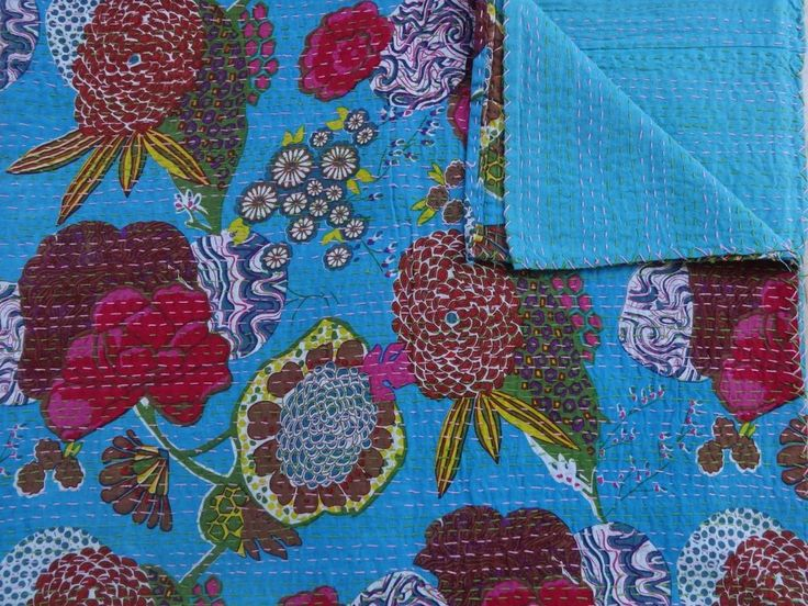 Kantha Quilt Queen, Fruit Print Fabric, Kantha Bedspread,Tropical Handmade Throw #Handmade #ArtsCraftsMissionStyle