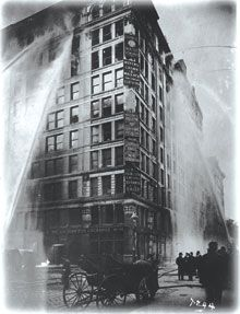 The Triangle Shirtwaist Factory Fire is one of the key examples when portraying the inhumane environments factory workers endured before and during the 1900s. It is the pinnacle of horror produced by industrialization and is now a grim memory of the labour movement.    Flames began to appear on the top floors of the Asch Building in the Triangle Waist Company, and quickly spread. Survivors and witnesses watched helplessly as leaps of faith were performed from the ninth floor.