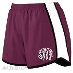 Monogrammed Maroon Running Shorts