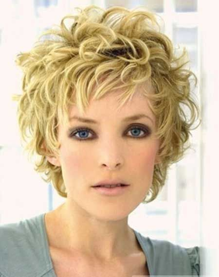 Asymmetrical short curly hairstyles