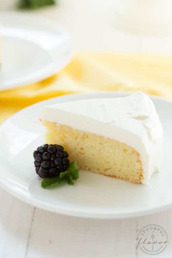 Lemon Cake with White Chocolate Mousse Frosting {  Dessert for Two Cookbook Giveaway}